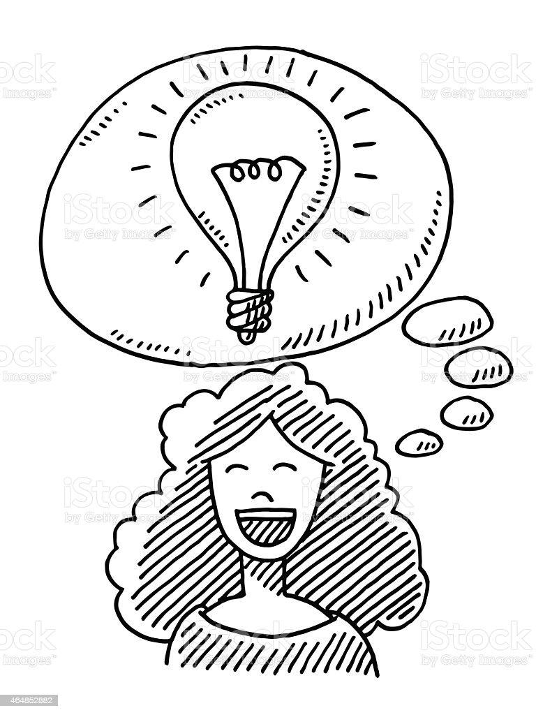 Happy Woman Idea Lightbulb Drawing vector art illustration