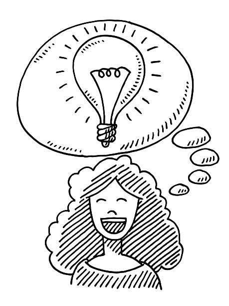 Happy Woman Idea Lightbulb Drawing Hand-drawn vector drawing of a Happy Woman with a Lightbulb in a Thought Bubble, Idea Concept Image. Black-and-White sketch on a transparent background (.eps-file). Included files are EPS (v10) and Hi-Res JPG. women stock illustrations