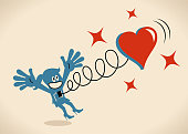 Blue Little Guy Characters Full Length Vector art illustration.Copy Space. Happy woman jumping and a big heart springing out of her body.