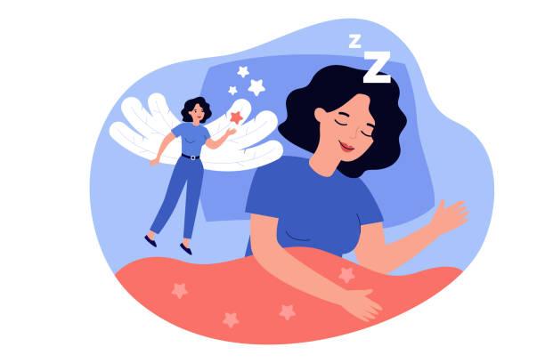 người phụ nữ hạnh phúc mân thơ mộng trong trạng thái ngủ rem - rem sleep hình minh họa sẵn có