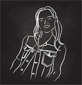 Happy Woman Portrait Chalk