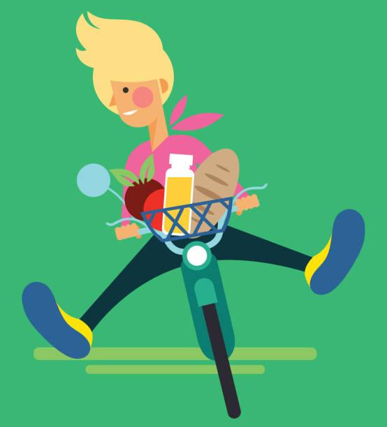 Happy woman riding a bike. – artystyczna grafika wektorowa