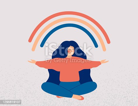 Happy woman sits in lotus pose and open her arms to the rainbow. Smiled girl creates good vibe around her. Smiling female character enjoys her freedom and life.