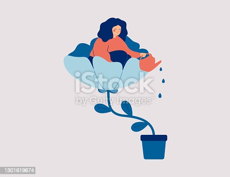 istock A happy woman sits in the flower and waters it. Smiling girl cares about herself and her future. Concept of love yourself and a healthy lifestyle. 1301619674