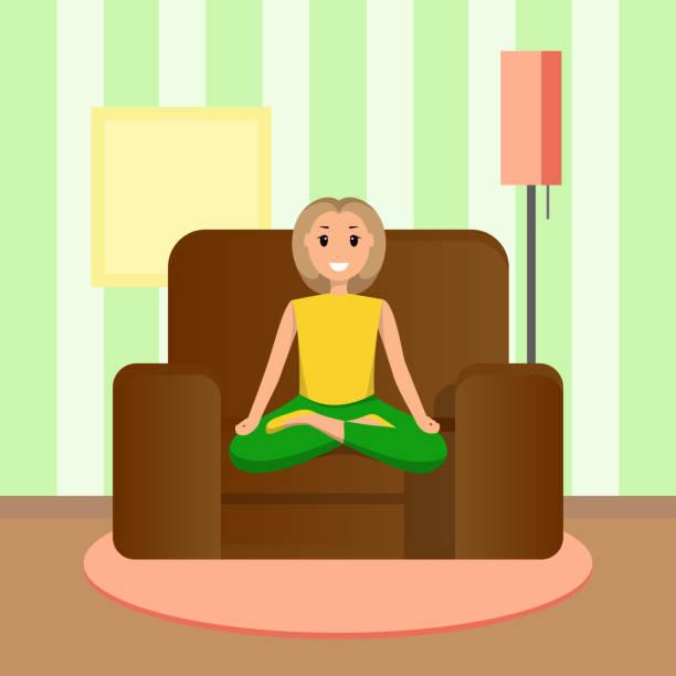 ilustrações, clipart, desenhos animados e ícones de feliz mulher senta-se a posição de lótus, casa de fazer desporto - salas de aula