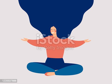 istock Happy woman sits on the floor with open arms. 1225537666