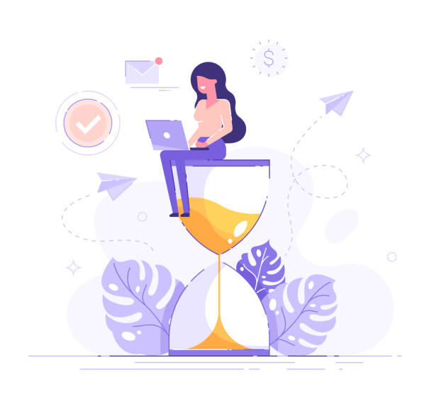 illustrazioni stock, clip art, cartoni animati e icone di tendenza di happy woman sitting on an hourglass and working on her laptop business process icons and infographics on background. multitasking, productivity and time management concept. flat vector illustration - solo una donna giovane