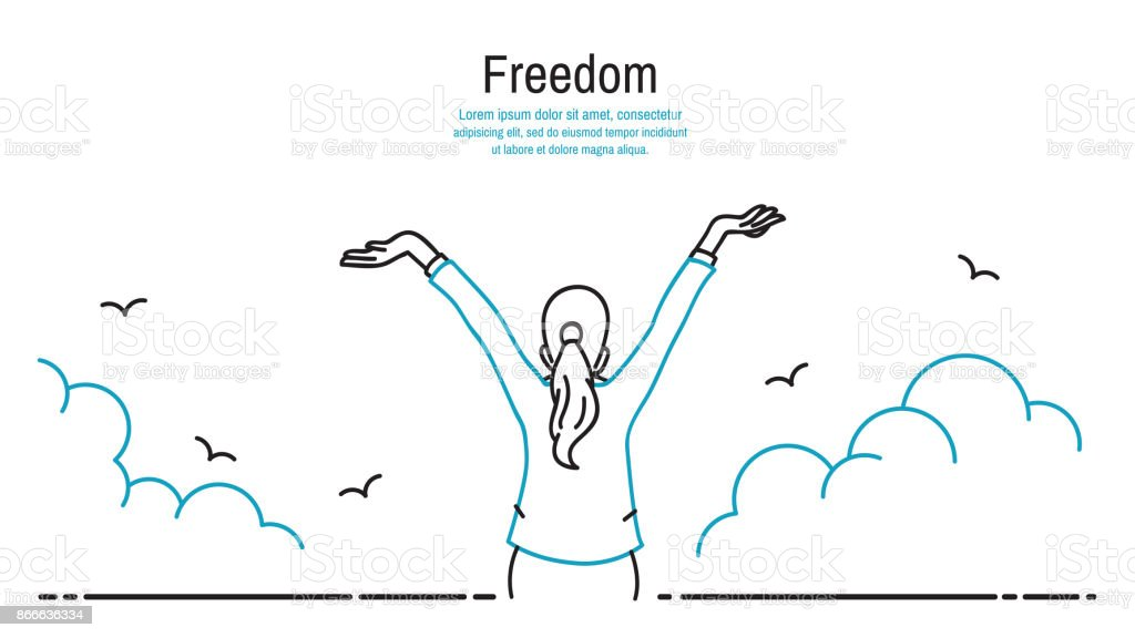 Happy woman stretching hands in the sky vector art illustration