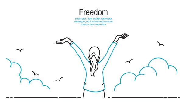 Happy woman stretching hands in the sky Happy businesswoman standing and stretching two hands towards sky, business concept in freedom, happiness, peaceful. Outline, thin line art, linear, hand drawn sketching design, simple style. inhaling stock illustrations