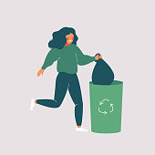 Happy woman throws away trash into green trash bin with recycling symbol. Vector illustration isolated from background
