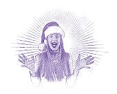 Engraving illustration of a Happy woman wearing Santa hat