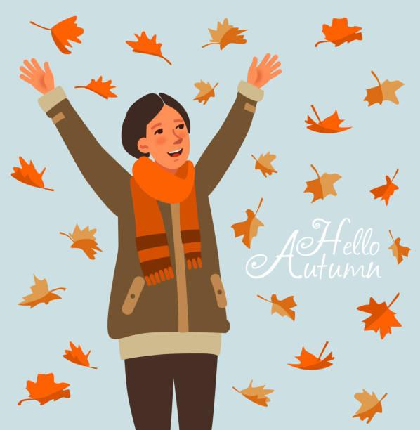illustrazioni stock, clip art, cartoni animati e icone di tendenza di happy woman with autumnal leaves - woman portrait forest