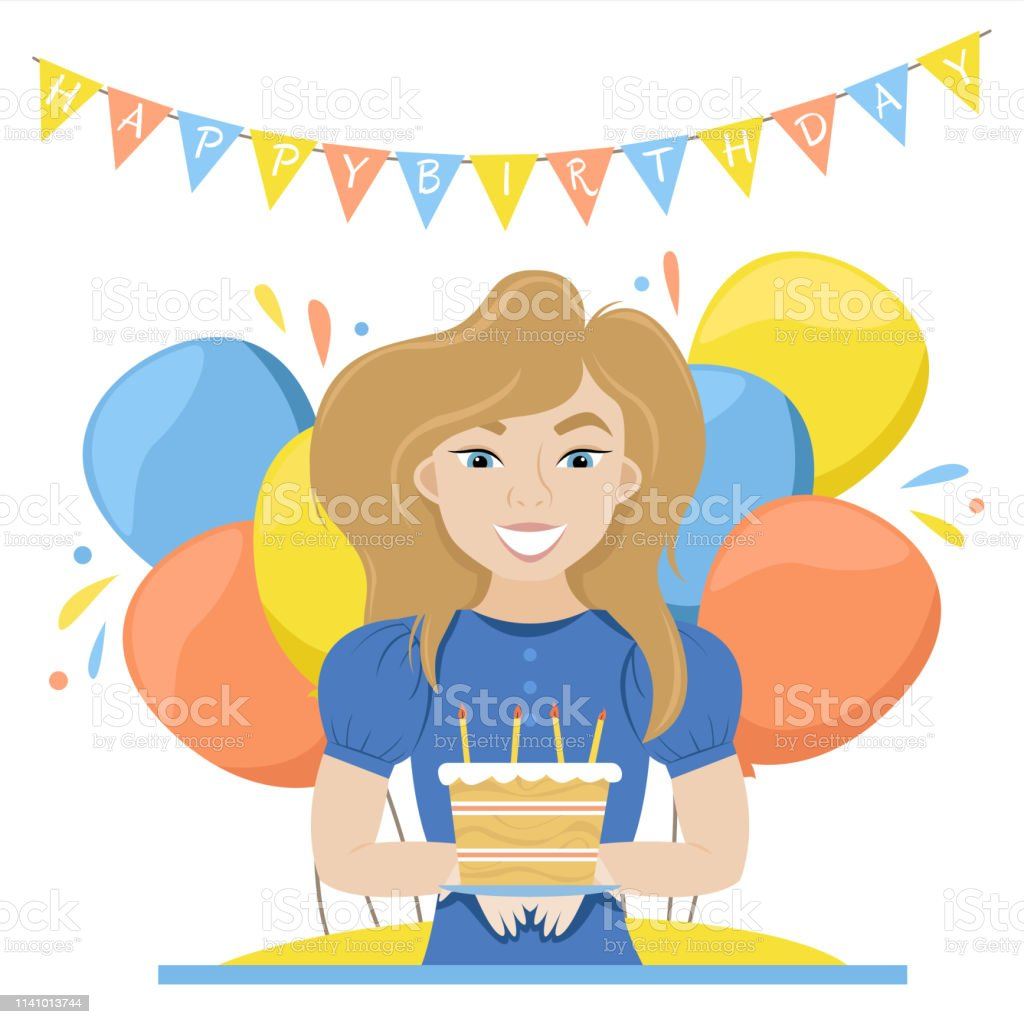 Happy Woman With Birthday Cake In Her Hands Balloon Vector Illustration