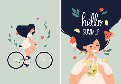 Happy woman with lemonade in hand and rides a bicycle