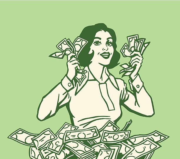 stockillustraties, clipart, cartoons en iconen met happy woman with lots of cash - woman very rich