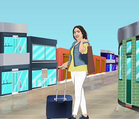Happy woman with shopping bag and suitcase at airport