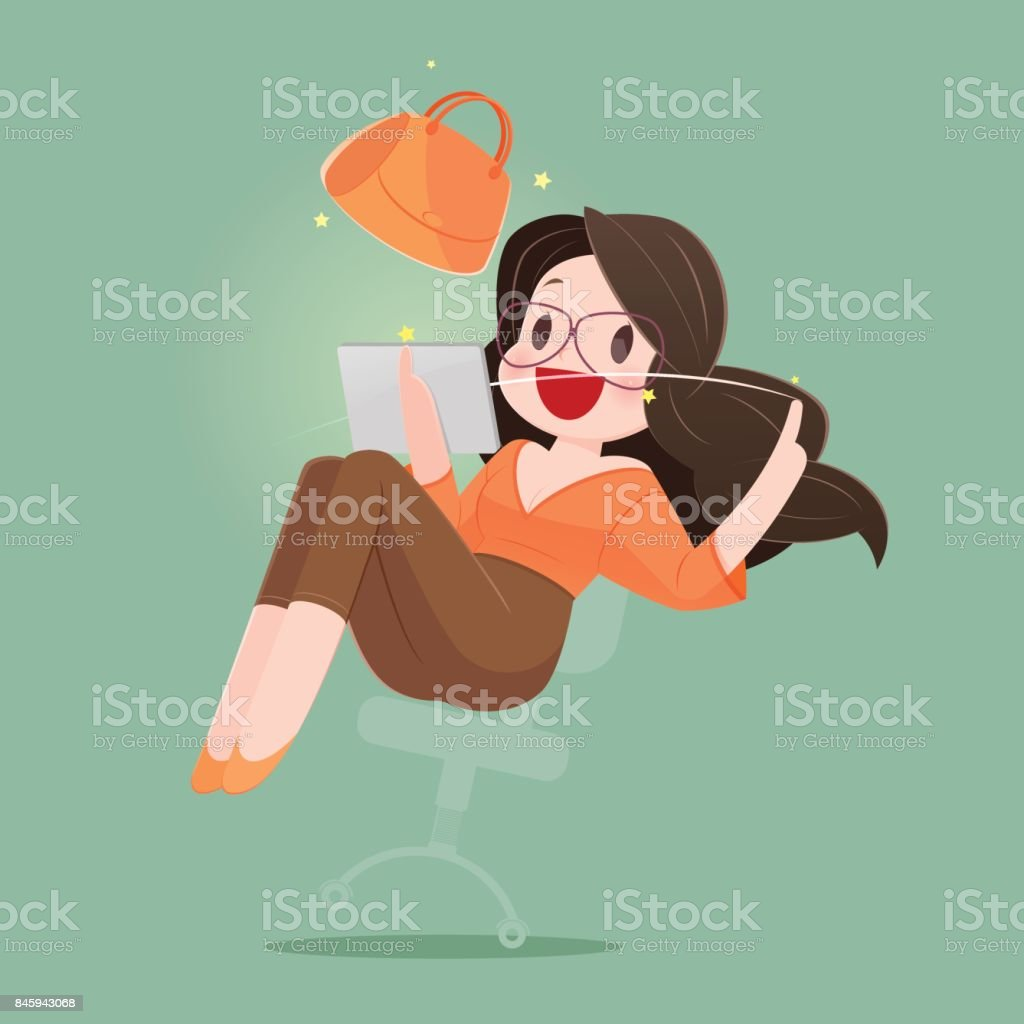 f42de92ab58 Happy Woman With Shopping Bag Enjoying in Online Shopping. Business Concept  Cartoon Illustration - Illustration .