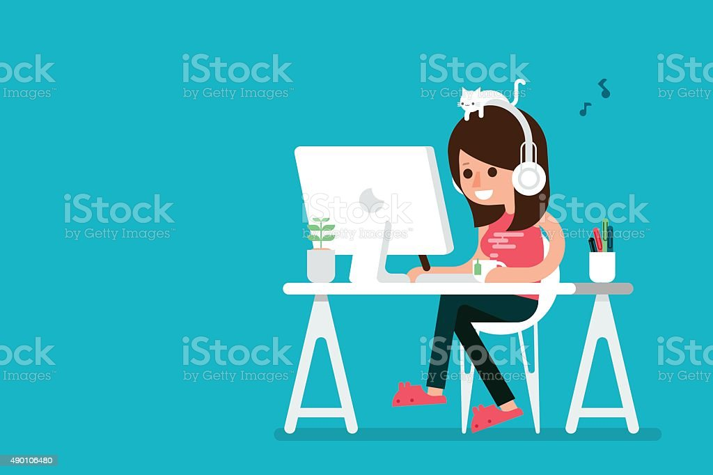 Happy woman working on computer. vector art illustration