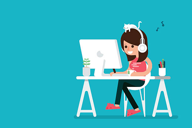 happy woman working on computer. - retail worker stock illustrations