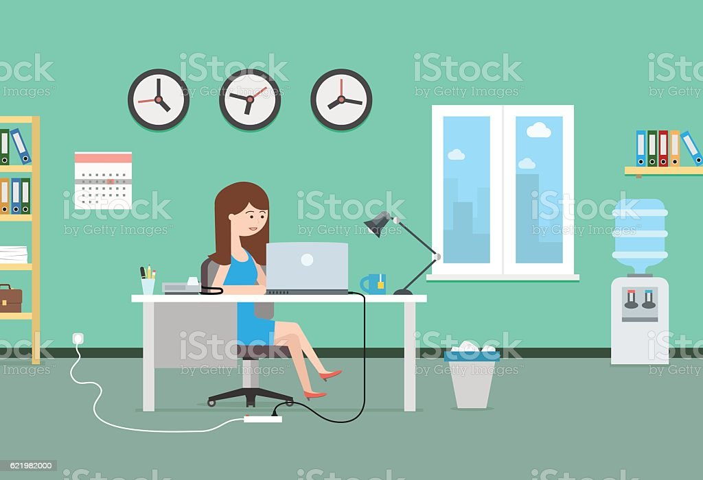 Happy woman working with laptop. Office interior and workplace. vector art illustration