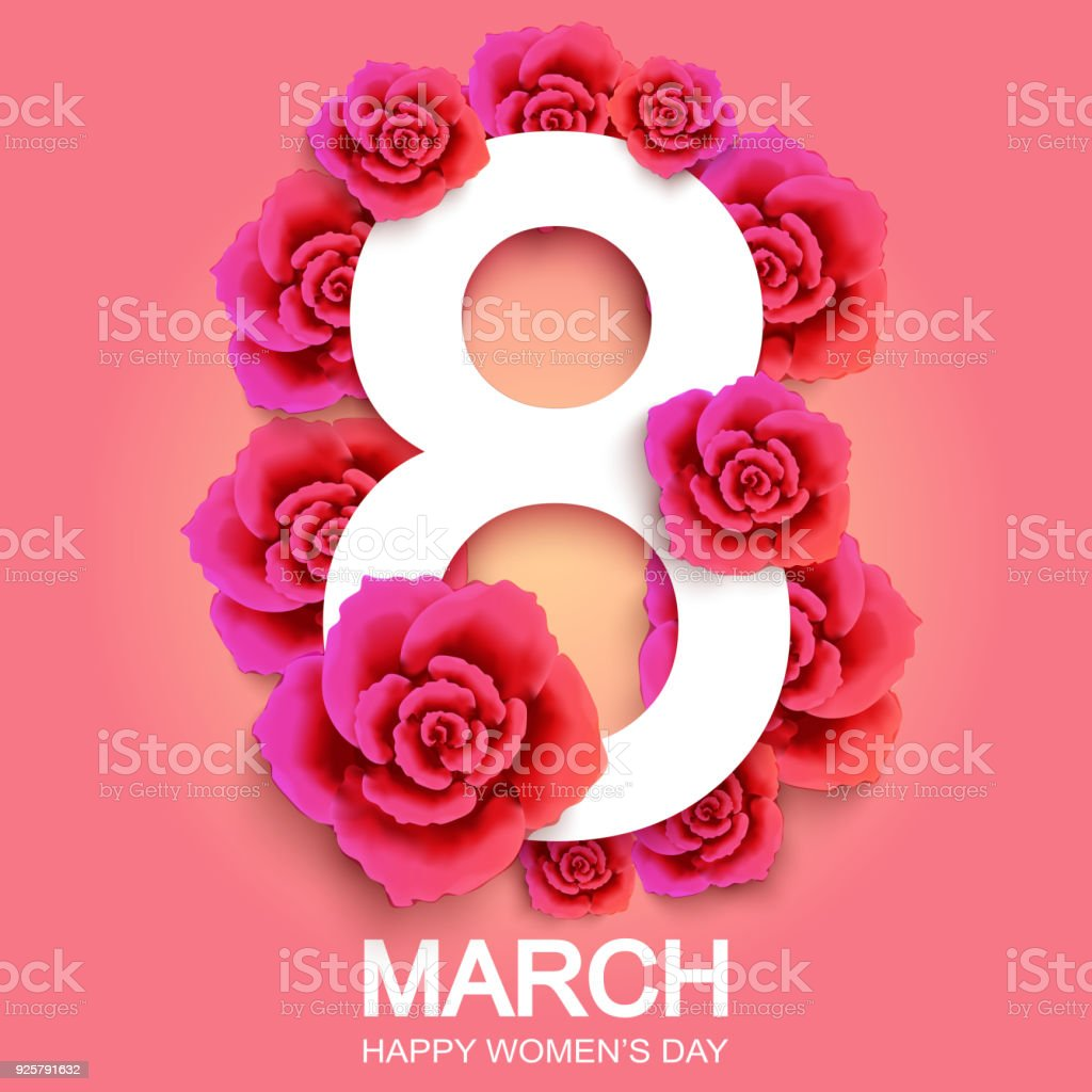 Happy Womans Day 8 March With Roses Wallpaper Flyers Invitat