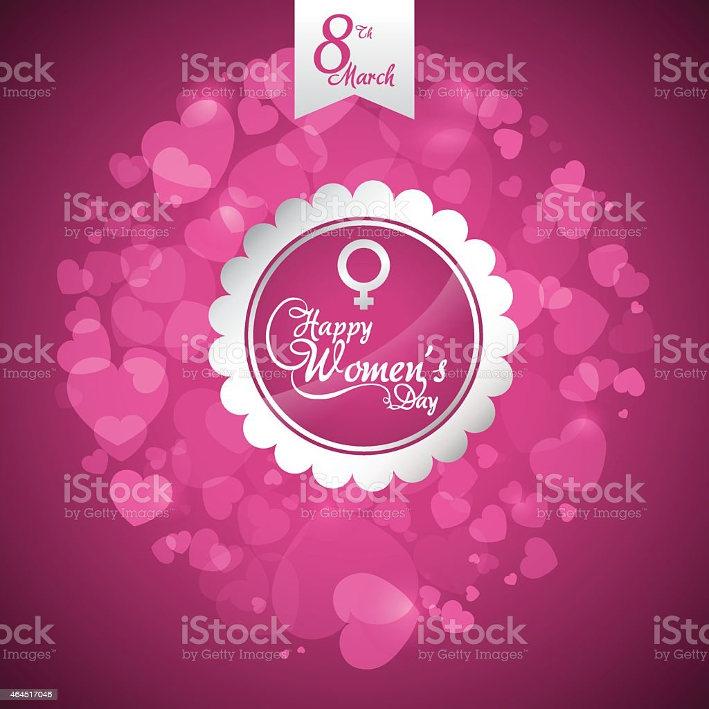 Happy woman's day greeting against a pink background vector art illustration