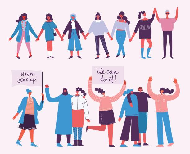 행복 한 여자의 국제 하루 - 여성 문제 stock illustrations