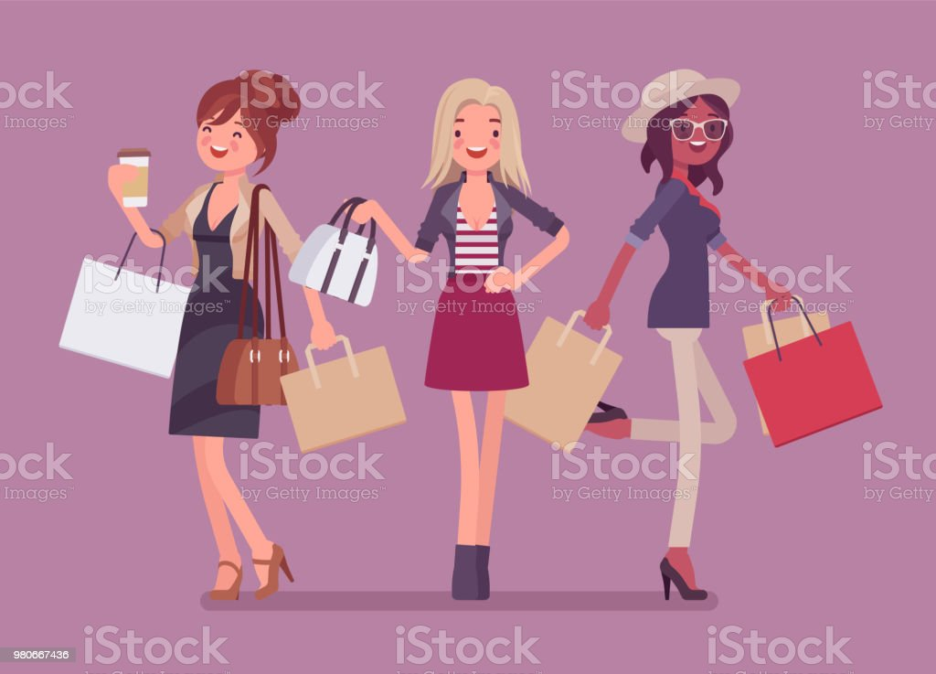 Happy women after shopping vector art illustration