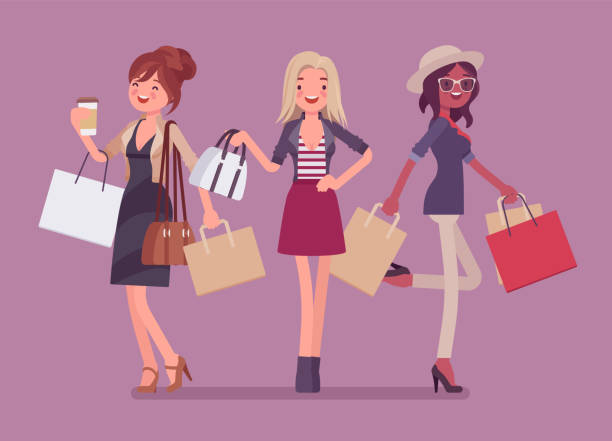 happy women after shopping - handel detaliczny stock illustrations