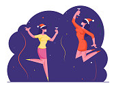 Happy Women Holding Cocktail Glasses Dancing and Jumping with Hands Up on Corporate Xmas Party. Business Colleagues Team in Santa Hats Celebrating Christmas in Office. Cartoon Flat Vector Illustration
