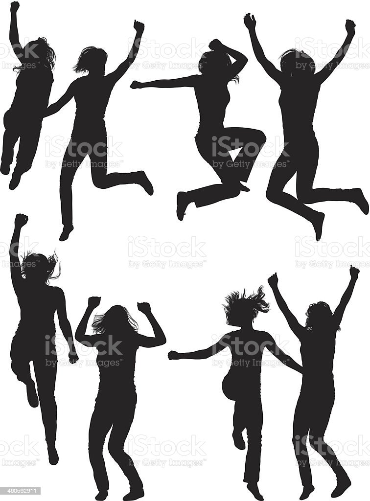 Happy women jumping royalty-free stock vector art