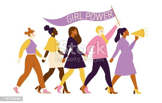 istock Happy women or girls standing together and holding hands. Group of female friends, union of feminists, sisterhood. Flat cartoon characters isolated on white background. Colorful vector illustration. 1197284381