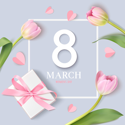 Happy Womens Day. 8 March design template. Decorative number with gift box and pink tulip flowers isolated on blue background.