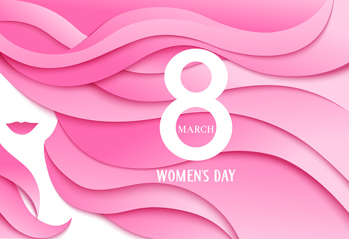 Happy Womens Day. 8 march design template with woman face and greeting text. Girl with long pink hair. Vector illustration