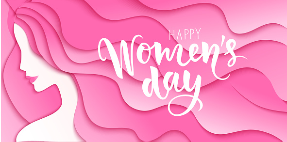 Happy Womens Day. 8 march design template with woman silhouette and greeting text. Girl with long pink hair. Vector illustration