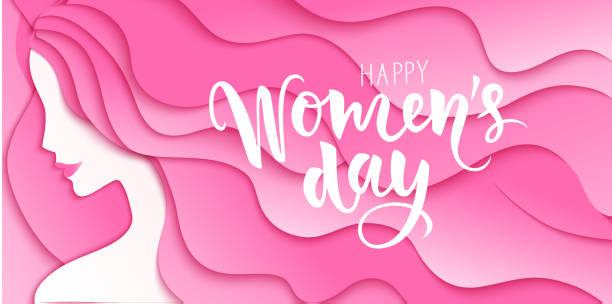 stockillustraties, clipart, cartoons en iconen met happy women's day. 8 maart ontwerpsjabloon met vrouw silhouet en begroeting tekst. meisje met lang roze haar. vector illustratie - golvend haar
