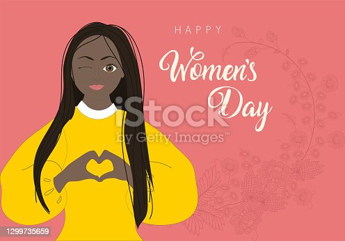 Happy womens day 8 march illustration, beautiful girl face smiling with celebration text quote.