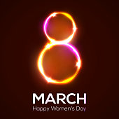 Happy womens day. 8 march in neon circles with glowing and sparkles. Bright 3d banner on dark red backdrop. Greeting card for International womens day design. Neon vector illustration with flash light