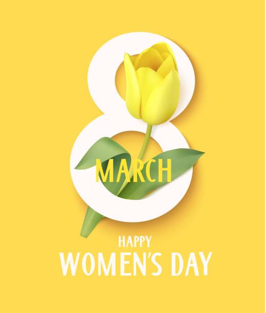 illustrations, cliparts, dessins animés et icônes de happy womens jour. symbole du 8 mars avec tulipe jaune. illustration vectorielle - mars