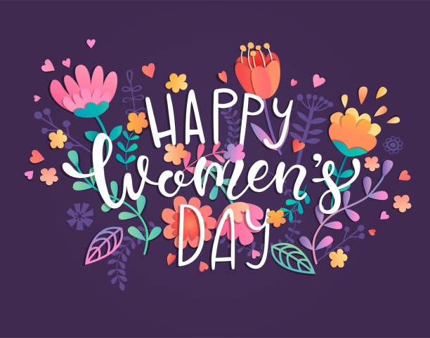 happy women's day card - international womens day stock illustrations, clip art, cartoons, & icons