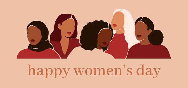 Happy women's day card with Five women of different ethnicities and cultures stand side by side together.