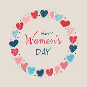 Happy Women's Day - colorful card with sketch hearts. Vector.