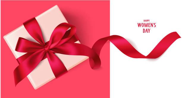 szablon projektu happy womens day. ozdobne pudełko z czerwoną kokardką. - gift stock illustrations