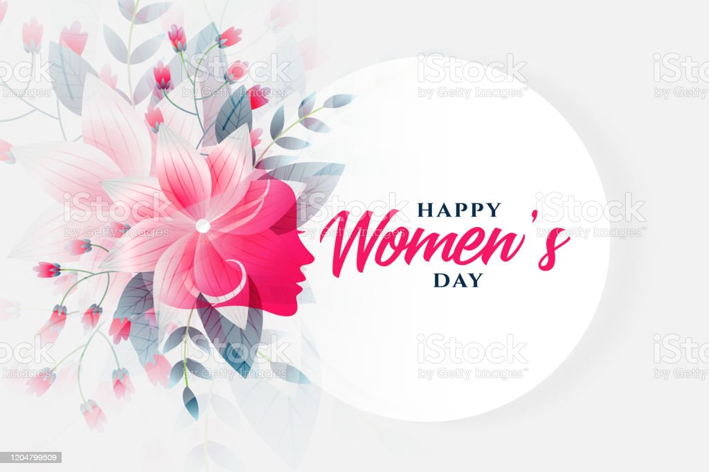 happy womens day flower background with face - Векторная графика Абстрактный роялти-фри