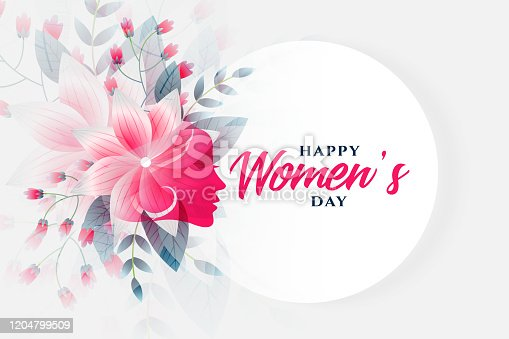 istock happy womens day flower background with face 1204799509