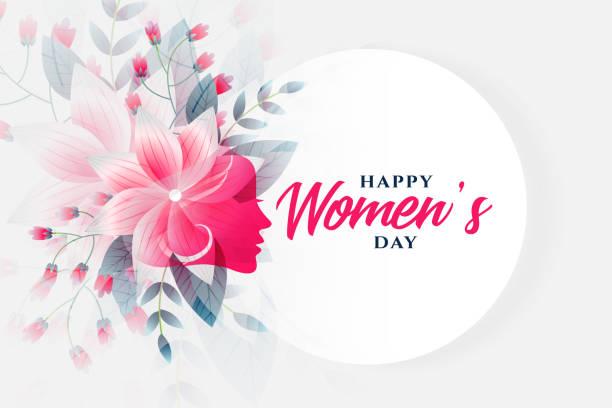 glückliche Frauen Tag Blume Hintergrund mit Gesicht – Vektorgrafik