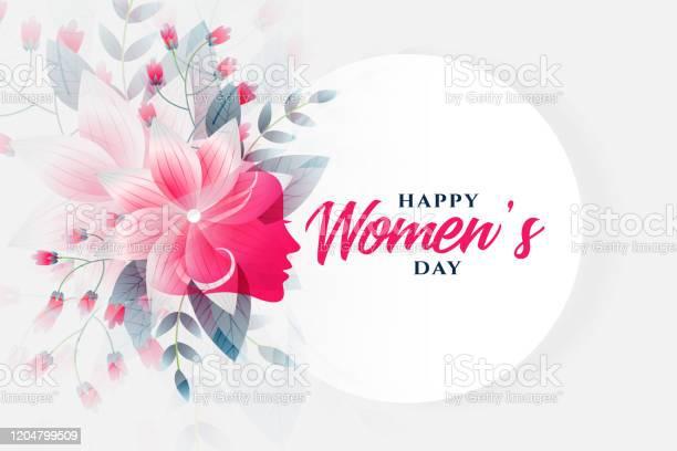 Happy Womens Day Flower Background With Face — стоковая векторная графика и другие изображения на тему Абстрактный