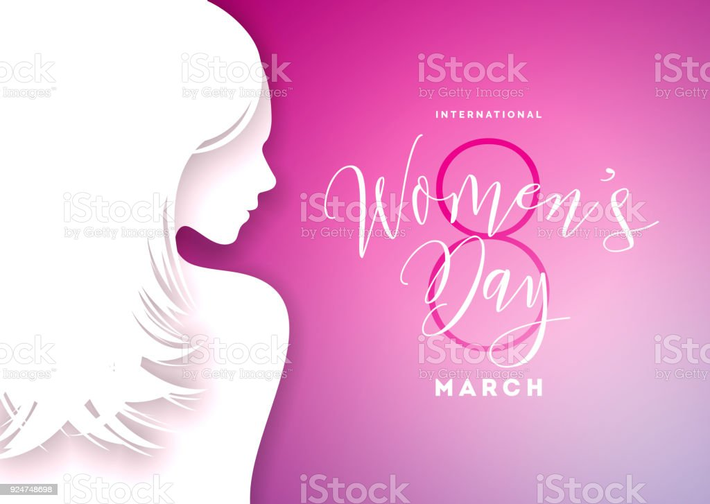 Happy womens day greeting card design with sexy young woman happy womens day greeting card design with sexy young woman silhouette international female holiday illustration m4hsunfo