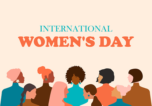 Happy Women's Day greeting card. Postcard template in pastel colors with women of different nationalities and religions. Modern vector graphics.