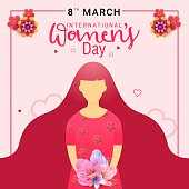 Happy women's day greeting card. Postcard on March 8. Text with flowers